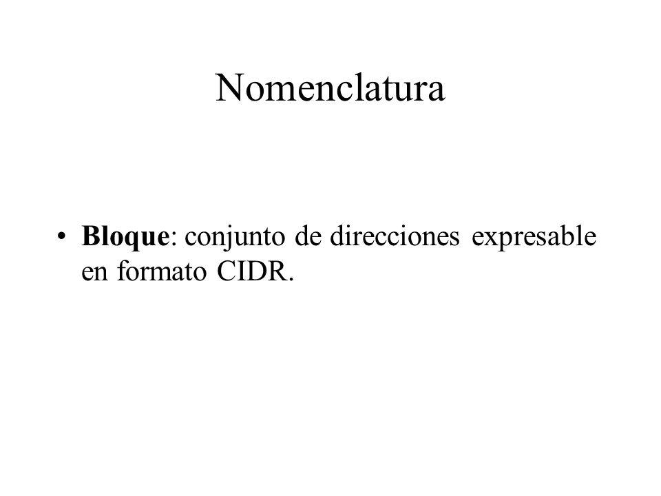 Nomenclatura Bloque: conjunto de direcciones expresable en formato CIDR.