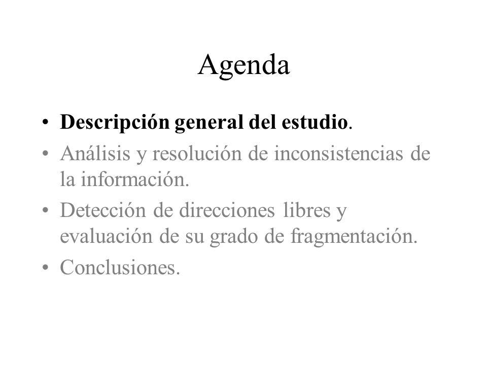 Agenda Descripción general del estudio. Análisis y resolución de inconsistencias de la información.