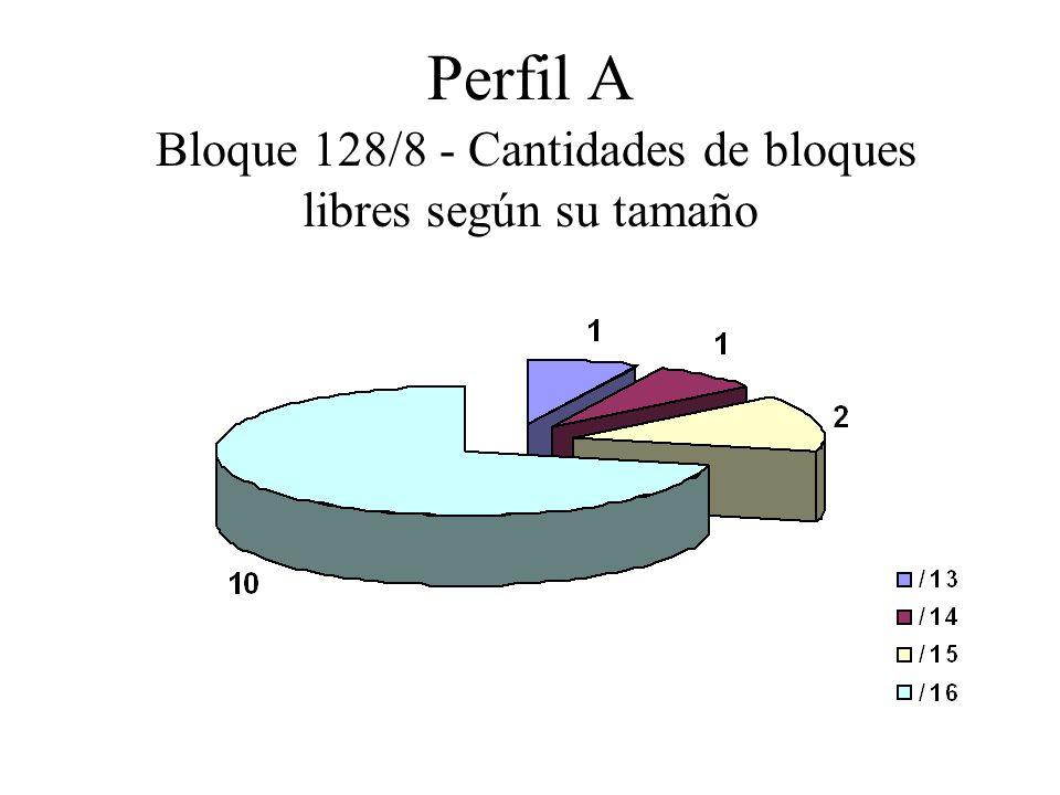 Perfil A Bloque 128/8 - Cantidades de bloques libres según su tamaño
