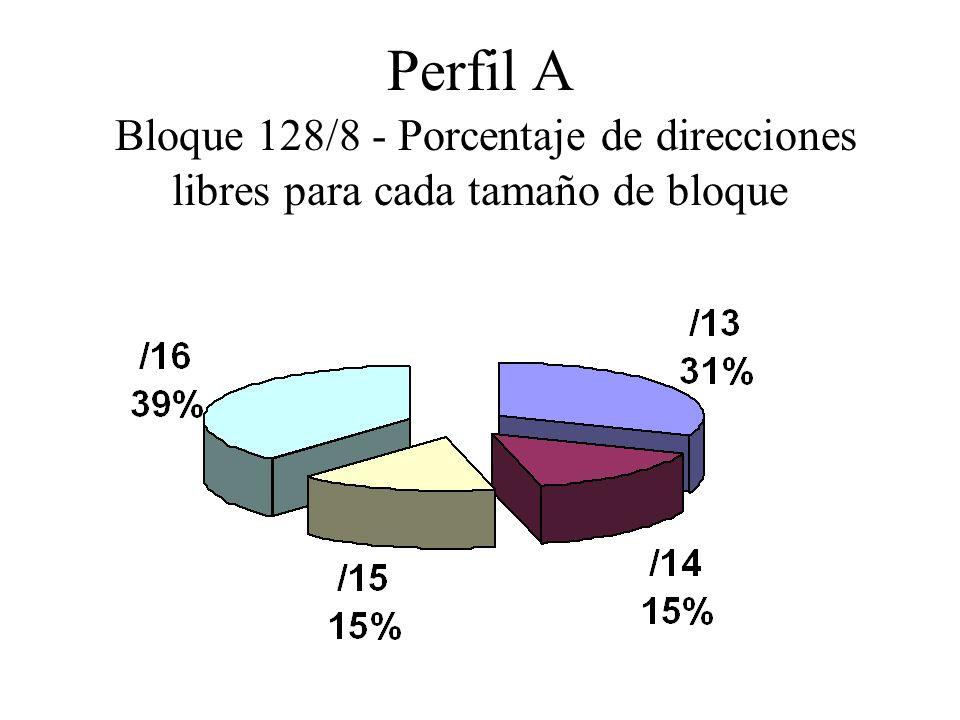 Perfil A Bloque 128/8 - Porcentaje de direcciones libres para cada tamaño de bloque