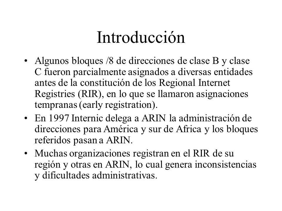 Introducción Algunos bloques /8 de direcciones de clase B y clase C fueron parcialmente asignados a diversas entidades antes de la constitución de los Regional Internet Registries (RIR), en lo que se llamaron asignaciones tempranas (early registration).