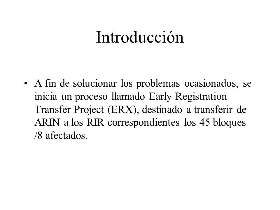 Introducción A fin de solucionar los problemas ocasionados, se inicia un proceso llamado Early Registration Transfer Project (ERX), destinado a transferir de ARIN a los RIR correspondientes los 45 bloques /8 afectados.