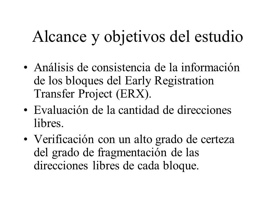 Alcance y objetivos del estudio Análisis de consistencia de la información de los bloques del Early Registration Transfer Project (ERX).