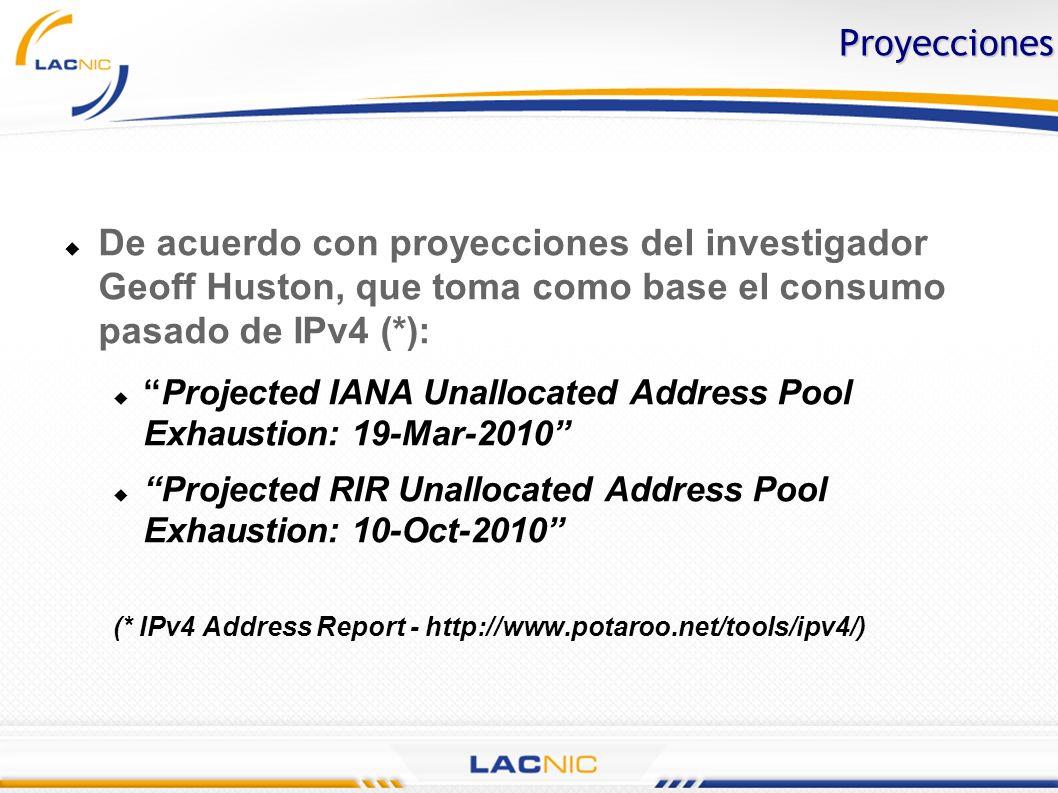 Proyecciones De acuerdo con proyecciones del investigador Geoff Huston, que toma como base el consumo pasado de IPv4 (*): Projected IANA Unallocated A