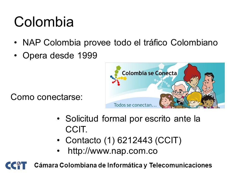 Colombia NAP Colombia provee todo el tráfico Colombiano Opera desde 1999 Cámara Colombiana de Informática y Telecomunicaciones Como conectarse: Solici