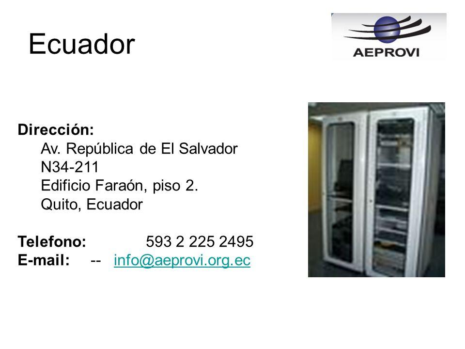 Dirección: Av. República de El Salvador N34-211 Edificio Faraón, piso 2. Quito, Ecuador Telefono: 593 2 225 2495 E-mail: -- info@aeprovi.org.ecinfo@ae