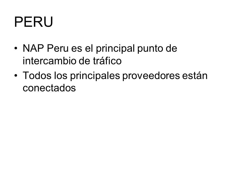 PERU NAP Peru es el principal punto de intercambio de tráfico Todos los principales proveedores están conectados