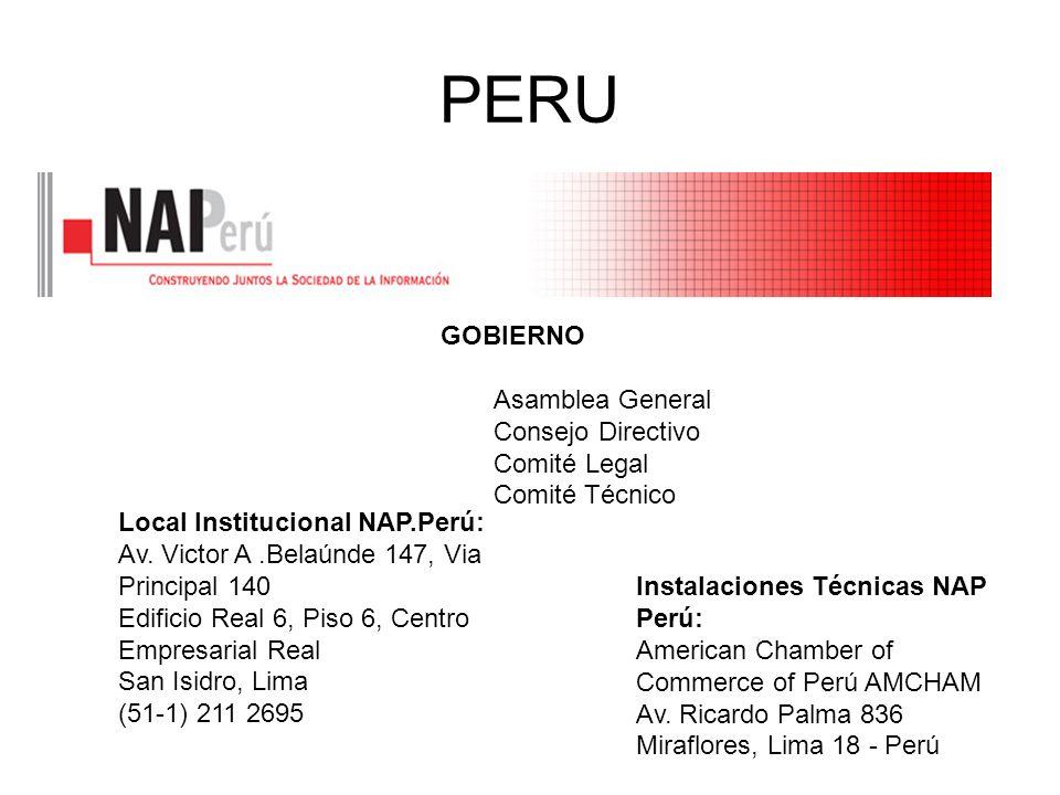 PERU GOBIERNO Asamblea General Consejo Directivo Comité Legal Comité Técnico Local Institucional NAP.Perú: Av. Victor A.Belaúnde 147, Via Principal 14