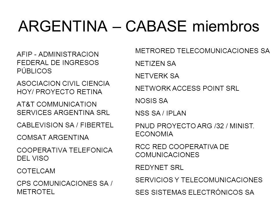 ARGENTINA – CABASE miembros AFIP - ADMINISTRACION FEDERAL DE INGRESOS PÚBLICOS ASOCIACION CIVIL CIENCIA HOY/ PROYECTO RETINA AT&T COMMUNICATION SERVIC