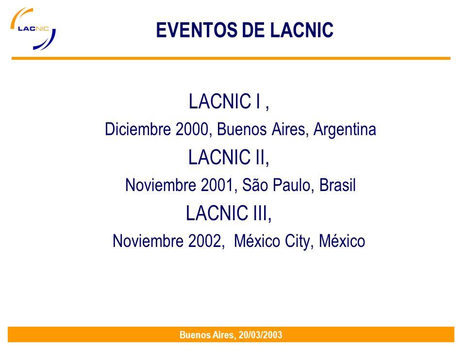 Buenos Aires, 20/03/2003 EVENTOS DE LACNIC LACNIC I, Diciembre 2000, Buenos Aires, Argentina LACNIC II, Noviembre 2001, São Paulo, Brasil LACNIC III, Noviembre 2002, México City, México