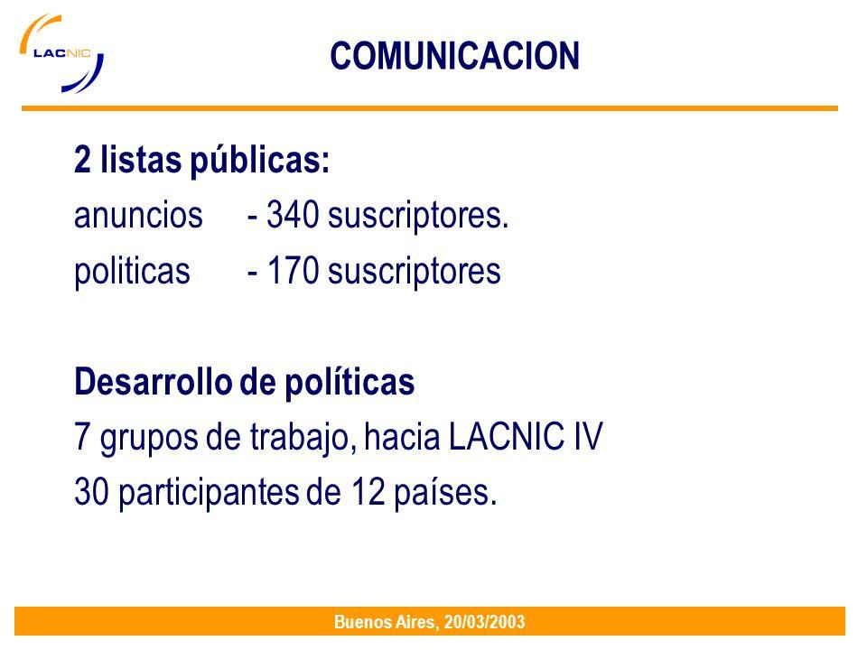 Buenos Aires, 20/03/2003 COMUNICACION 2 listas públicas: anuncios - 340 suscriptores.