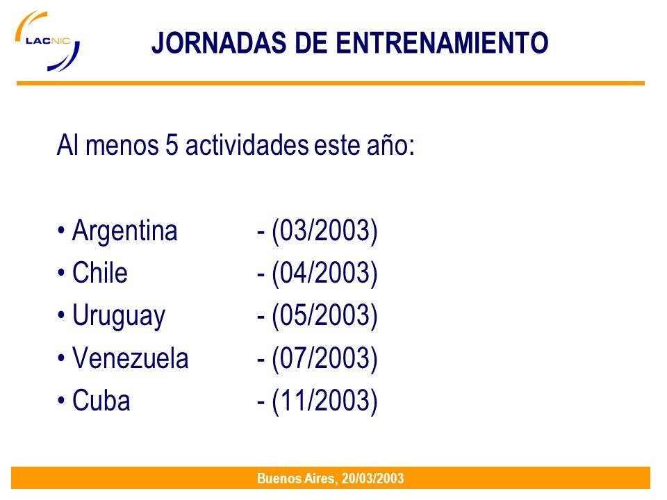 Buenos Aires, 20/03/2003 JORNADAS DE ENTRENAMIENTO Al menos 5 actividades este año: Argentina- (03/2003) Chile- (04/2003) Uruguay- (05/2003) Venezuela- (07/2003) Cuba - (11/2003)
