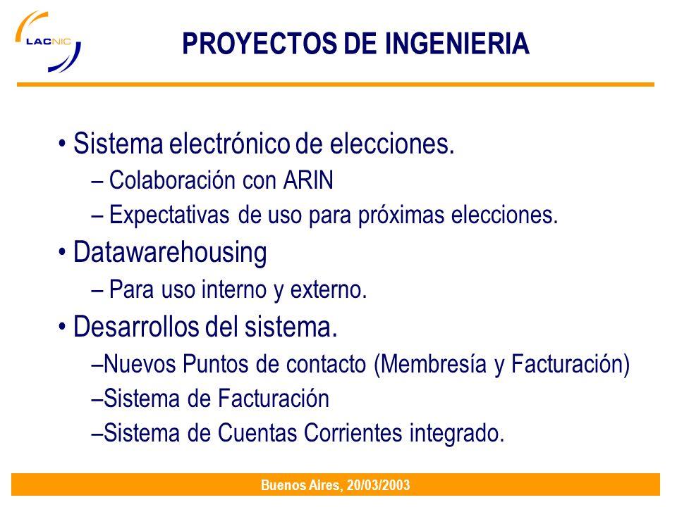 Buenos Aires, 20/03/2003 PROYECTOS DE INGENIERIA Sistema electrónico de elecciones.