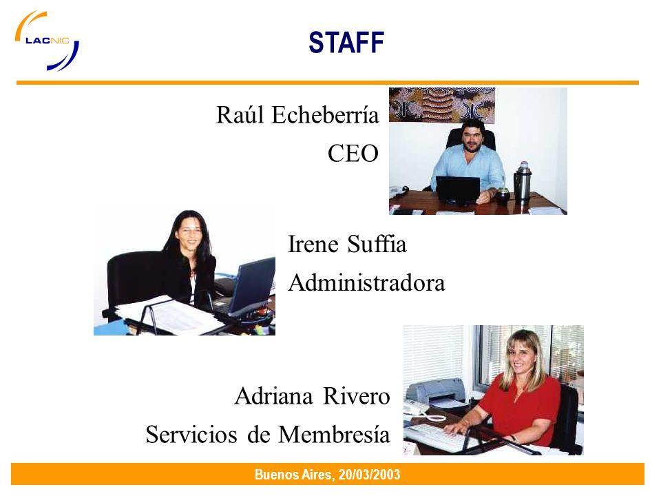 Buenos Aires, 20/03/2003 Raúl Echeberría CEO Adriana Rivero Servicios de Membresía Irene Suffia Administradora STAFF