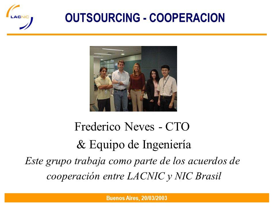 Buenos Aires, 20/03/2003 Frederico Neves - CTO & Equipo de Ingeniería Este grupo trabaja como parte de los acuerdos de cooperación entre LACNIC y NIC Brasil OUTSOURCING - COOPERACION