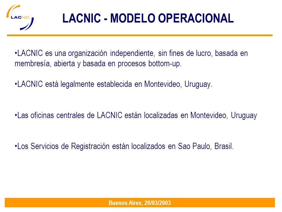 Buenos Aires, 20/03/2003 LACNIC - MODELO OPERACIONAL LACNIC es una organización independiente, sin fines de lucro, basada en membresía, abierta y basada en procesos bottom-up.