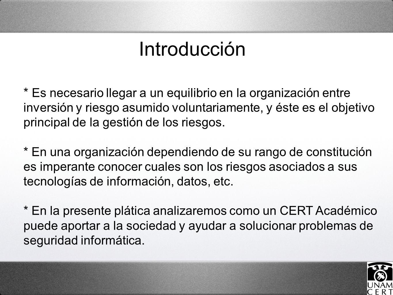 Introducción * Es necesario llegar a un equilibrio en la organización entre inversión y riesgo asumido voluntariamente, y éste es el objetivo principal de la gestión de los riesgos.