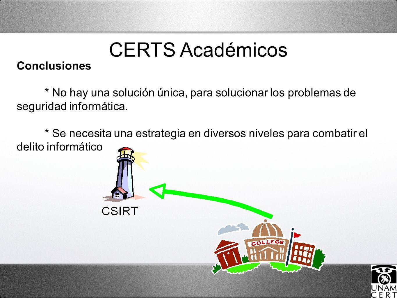 CERTS Académicos Conclusiones * No hay una solución única, para solucionar los problemas de seguridad informática. * Se necesita una estrategia en div