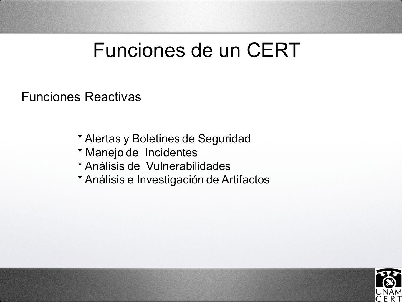 Funciones Reactivas * Alertas y Boletines de Seguridad * Manejo de Incidentes * Análisis de Vulnerabilidades * Análisis e Investigación de Artifactos Funciones de un CERT