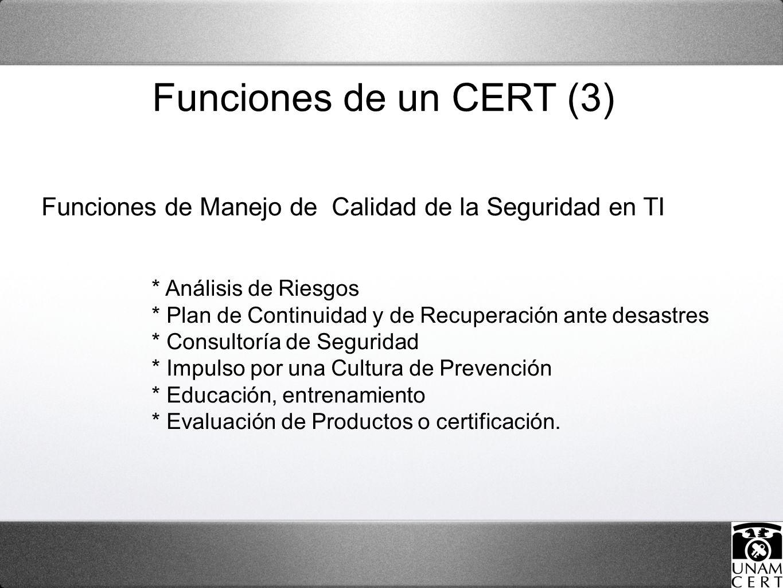 Funciones de Manejo de Calidad de la Seguridad en TI * Análisis de Riesgos * Plan de Continuidad y de Recuperación ante desastres * Consultoría de Seguridad * Impulso por una Cultura de Prevención * Educación, entrenamiento * Evaluación de Productos o certificación.