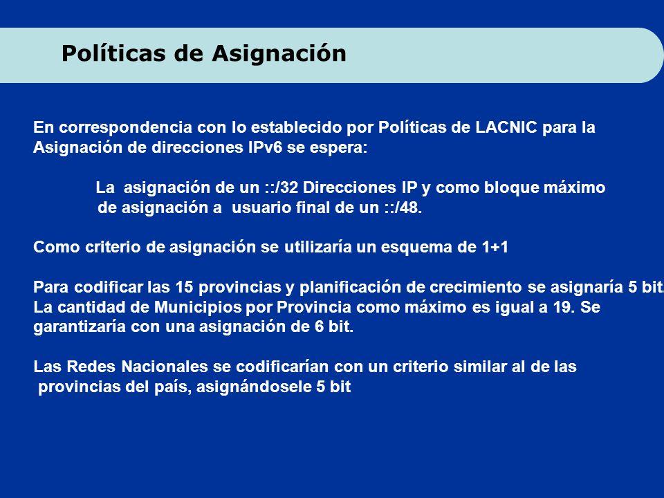 En correspondencia con lo establecido por Políticas de LACNIC para la Asignación de direcciones IPv6 se espera: La asignación de un ::/32 Direcciones