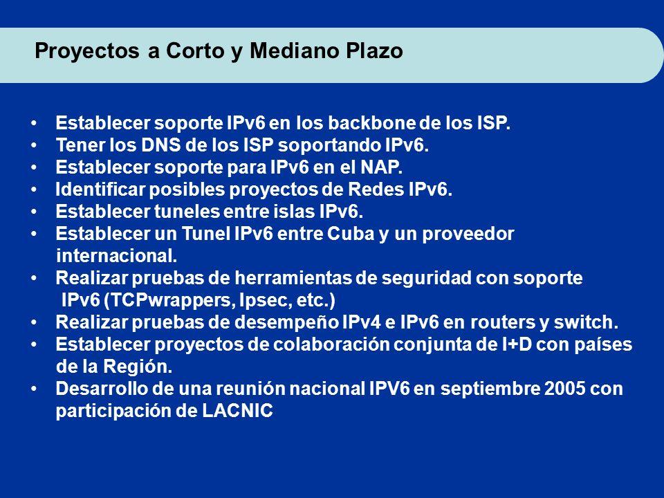 Proyectos a Corto y Mediano Plazo Establecer soporte IPv6 en los backbone de los ISP. Tener los DNS de los ISP soportando IPv6. Establecer soporte par