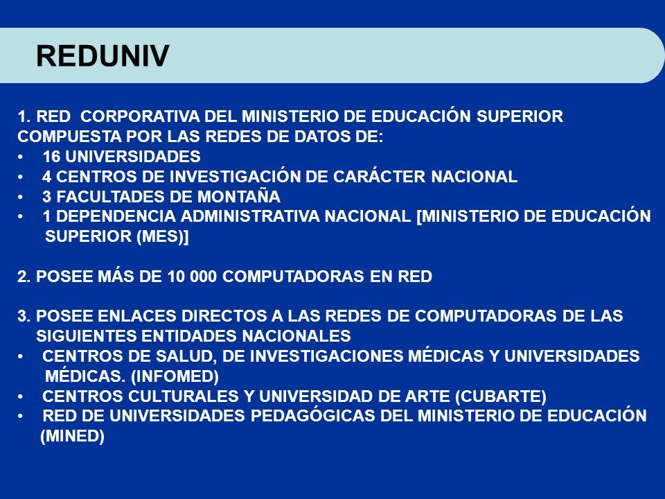 1. RED CORPORATIVA DEL MINISTERIO DE EDUCACIÓN SUPERIOR COMPUESTA POR LAS REDES DE DATOS DE: 16 UNIVERSIDADES 4 CENTROS DE INVESTIGACIÓN DE CARÁCTER N