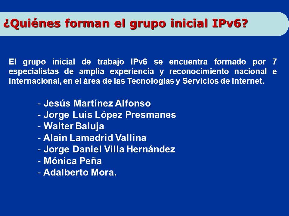 El grupo inicial de trabajo IPv6 se encuentra formado por 7 especialistas de amplia experiencia y reconocimiento nacional e internacional, en el área
