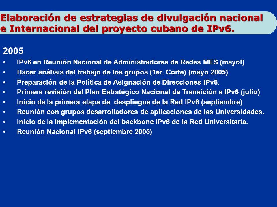 2005 IPv6 en Reunión Nacional de Administradores de Redes MES (mayol) Hacer análisis del trabajo de los grupos (1er. Corte) (mayo 2005) Preparación de