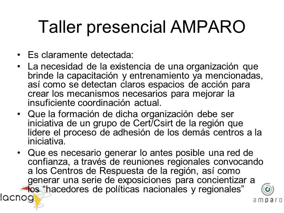 Taller presencial AMPARO Es claramente detectada: La necesidad de la existencia de una organización que brinde la capacitación y entrenamiento ya menc