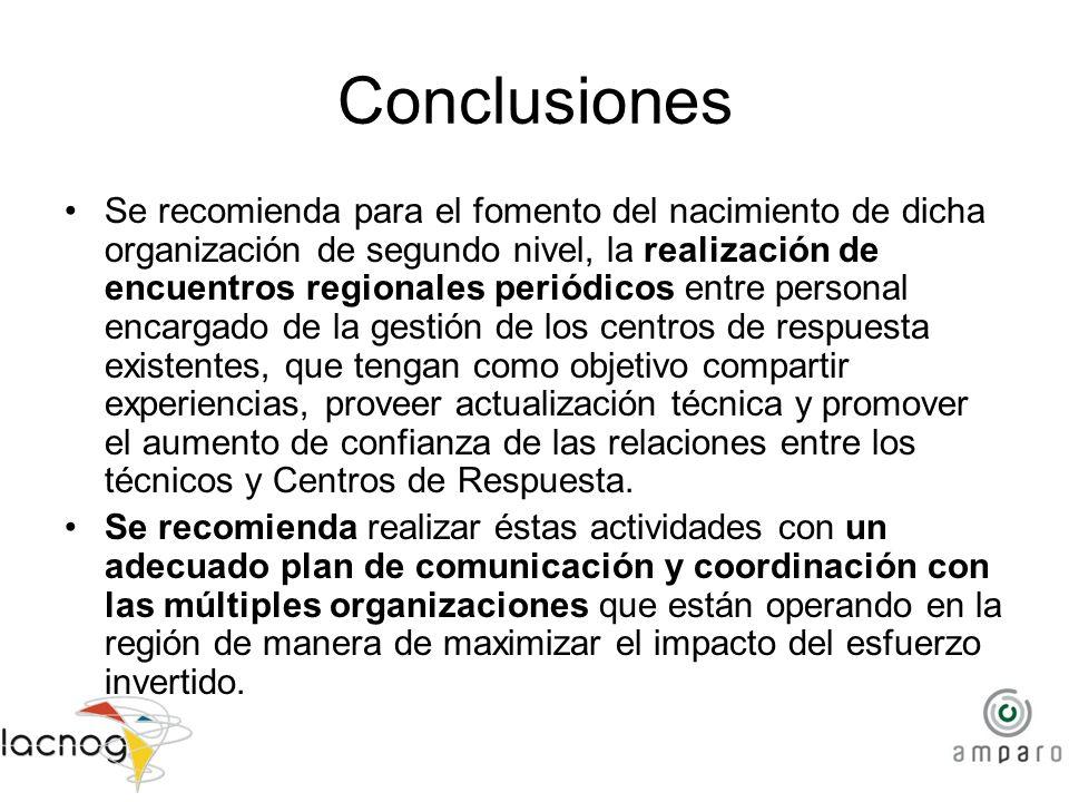 Conclusiones Se recomienda para el fomento del nacimiento de dicha organización de segundo nivel, la realización de encuentros regionales periódicos e