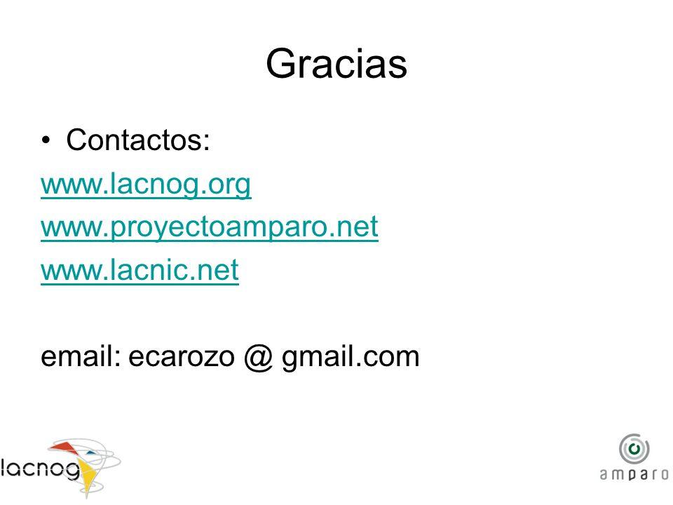 Gracias Contactos: www.lacnog.org www.proyectoamparo.net www.lacnic.net email: ecarozo @ gmail.com