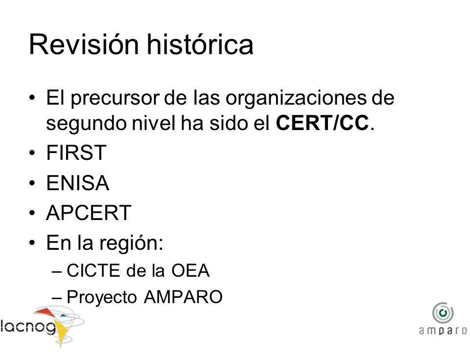 Revisión histórica El precursor de las organizaciones de segundo nivel ha sido el CERT/CC. FIRST ENISA APCERT En la región: –CICTE de la OEA –Proyecto