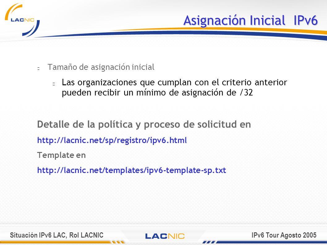 Situación IPv6 LAC, Rol LACNICIPv6 Tour Agosto 2005 Asignación Inicial IPv6 Tamaño de asignación inicial Las organizaciones que cumplan con el criteri