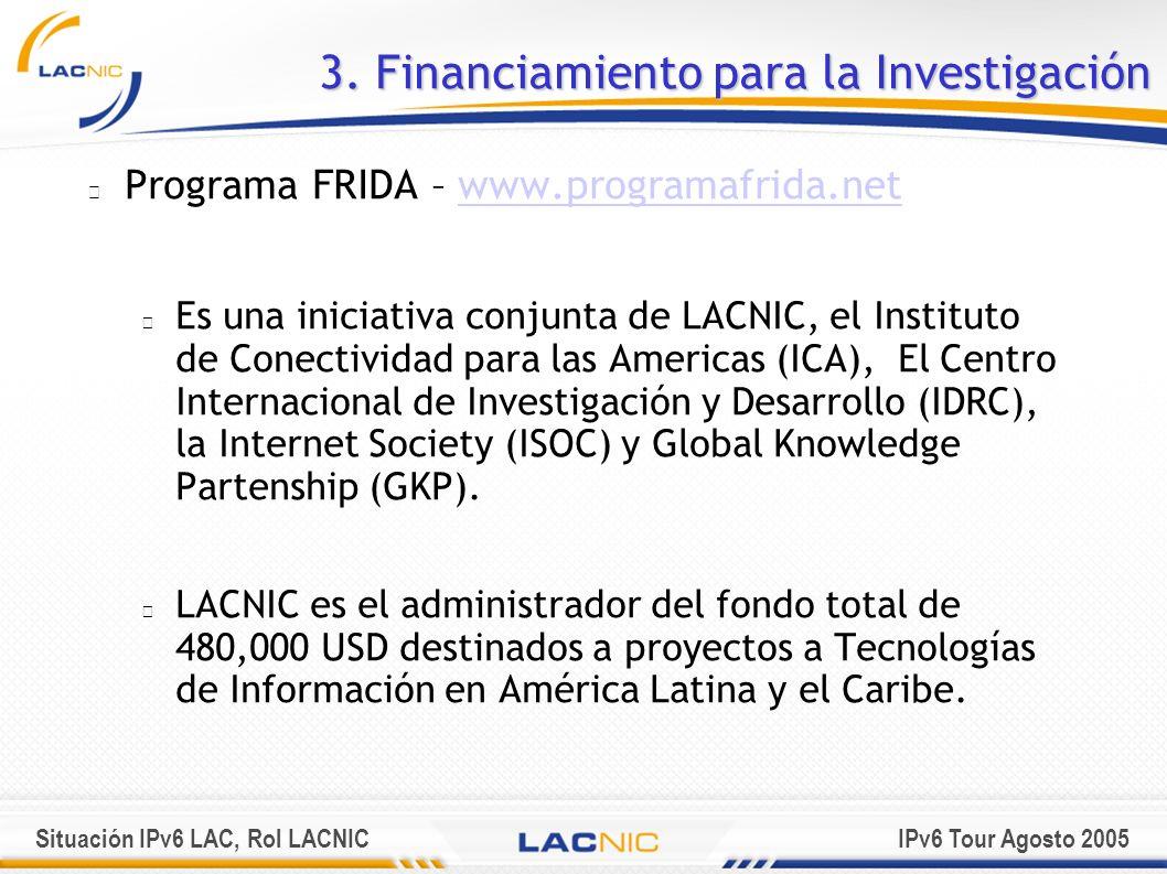 Situación IPv6 LAC, Rol LACNICIPv6 Tour Agosto 2005 Programa FRIDA – www.programafrida.netwww.programafrida.net Es una iniciativa conjunta de LACNIC,
