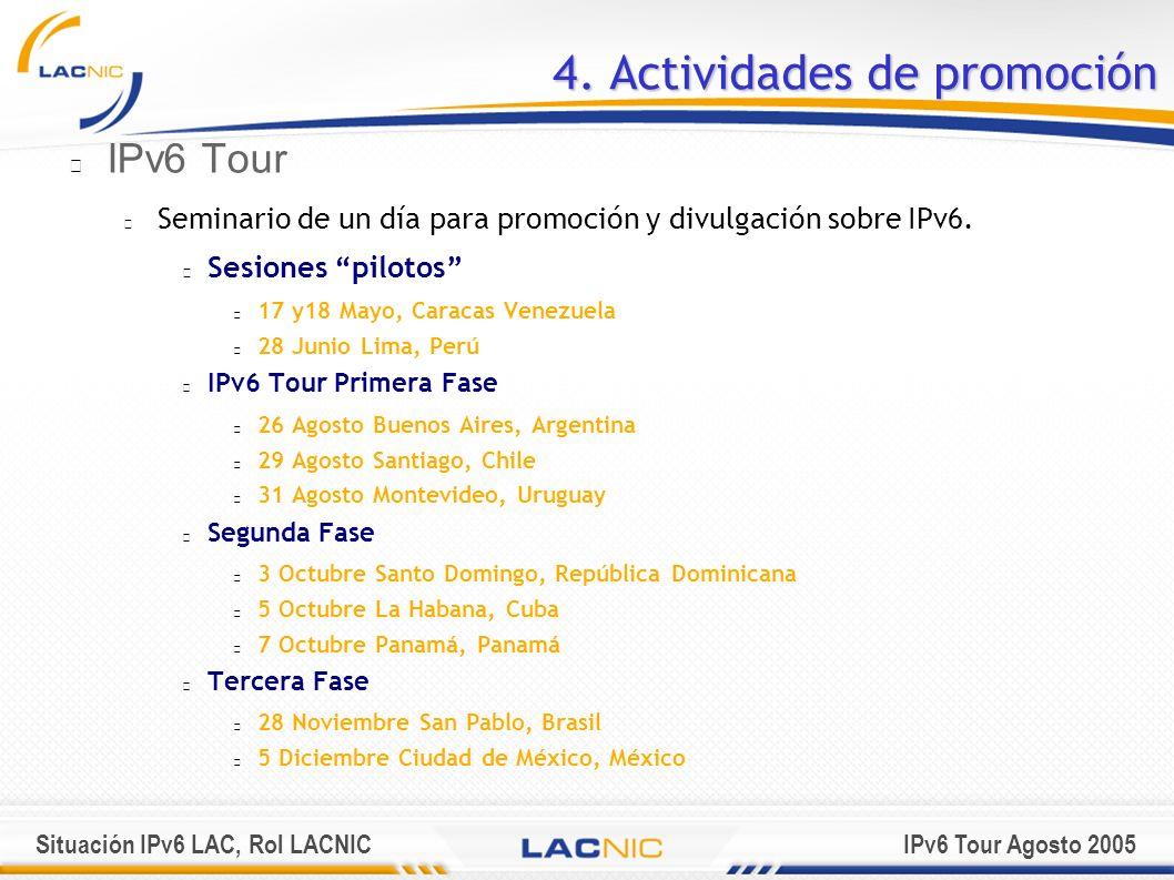 Situación IPv6 LAC, Rol LACNICIPv6 Tour Agosto 2005 4. Actividades de promoción IPv6 Tour Seminario de un día para promoción y divulgación sobre IPv6.
