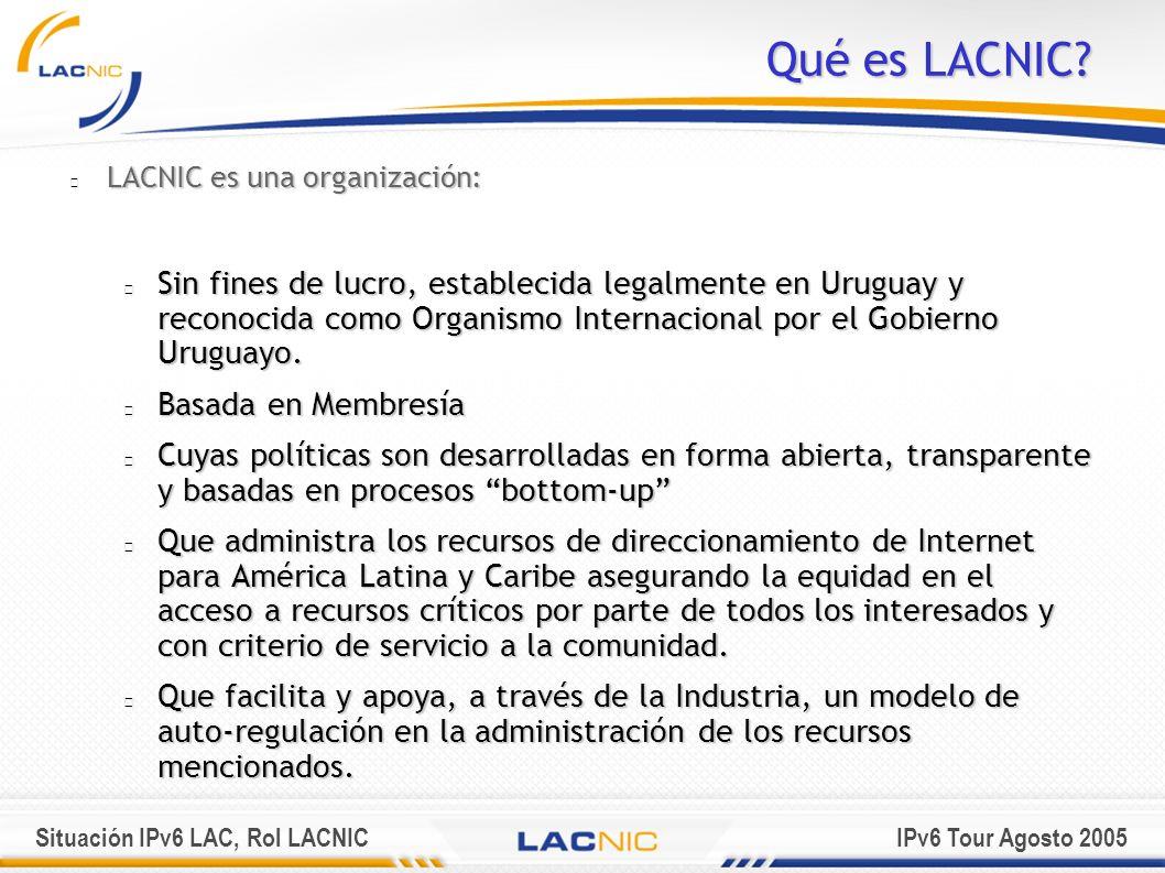Situación IPv6 LAC, Rol LACNICIPv6 Tour Agosto 2005 Región Cobertura LACNIC ARGENTINAGUYANA ARUBA HAITI BELIZE HONDURAS BOLIVIA MEXICO BRASIL ANTILLAS HOLANDESAS CHILE NICARAGUA COLOMBIA PANAMA COSTA RICA PARAGUAY CUBA PERU REP.
