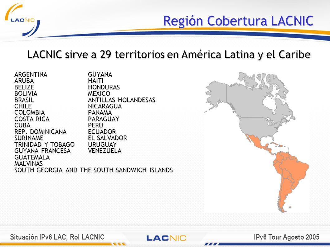 Situación IPv6 LAC, Rol LACNICIPv6 Tour Agosto 2005 Recursos de Internet Administrados por LACNIC LACNIC actualmente administra en su región los siguientes recursos: IPv4189/8, 190/8, 200/8 y 201/8 IPv62001:1200::/23 ASN27648 – 28671 recibidos de IANA 26592 - 26623 recibidos de ARIN (transición) Total ASN – 1056