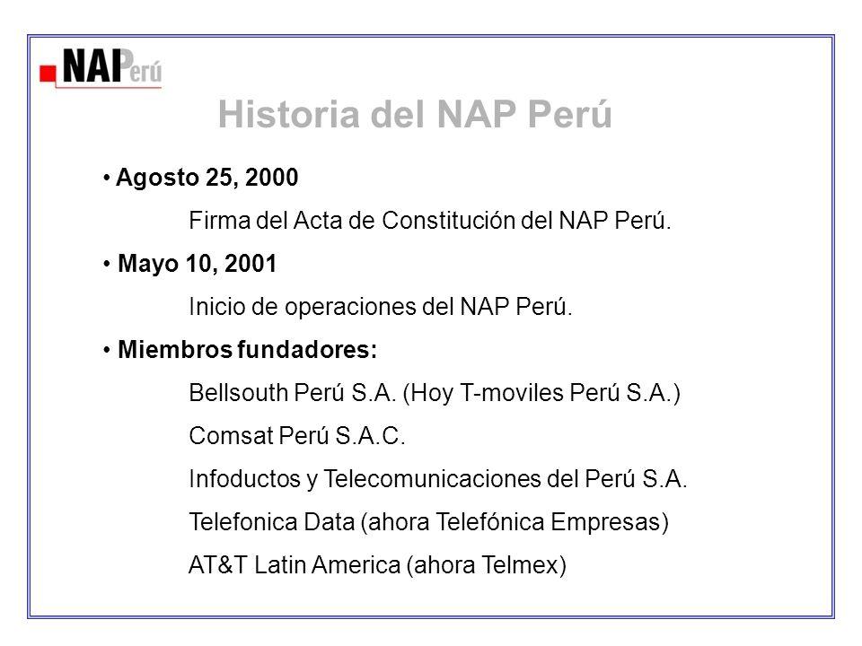 Historia del NAP Perú Agosto 25, 2000 Firma del Acta de Constitución del NAP Perú. Mayo 10, 2001 Inicio de operaciones del NAP Perú. Miembros fundador