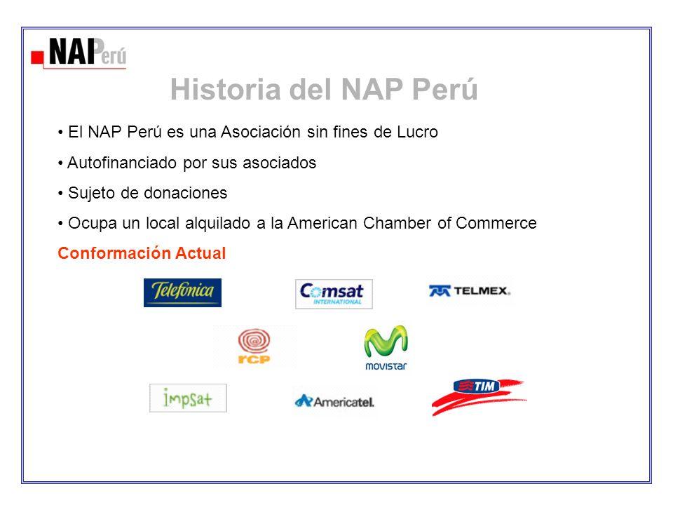 El NAP Perú es una Asociación sin fines de Lucro Autofinanciado por sus asociados Sujeto de donaciones Ocupa un local alquilado a la American Chamber