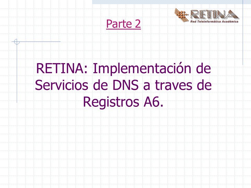 RETINA: Implementación de Servicios de DNS a traves de Registros A6. Parte 2