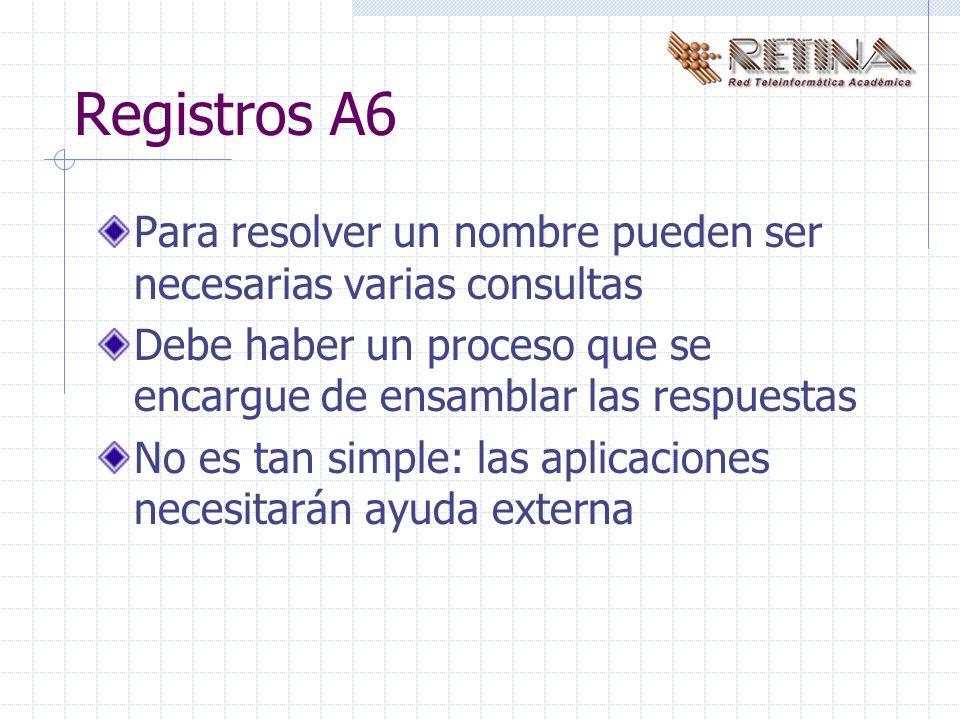 Registros A6 Para resolver un nombre pueden ser necesarias varias consultas Debe haber un proceso que se encargue de ensamblar las respuestas No es tan simple: las aplicaciones necesitarán ayuda externa