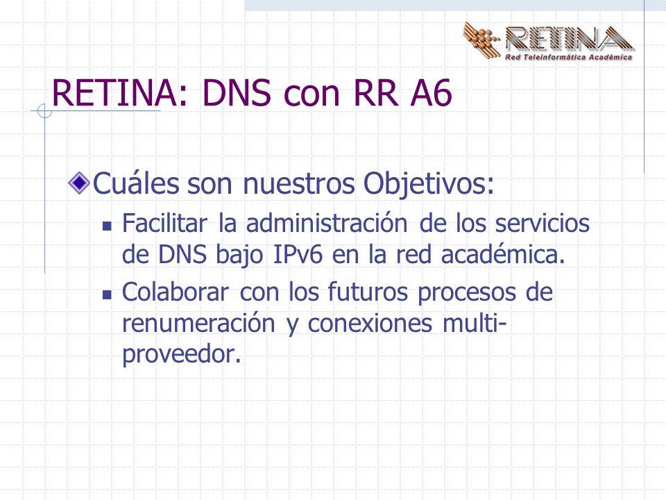 RETINA: DNS con RR A6 Cuáles son nuestros Objetivos: Facilitar la administración de los servicios de DNS bajo IPv6 en la red académica.