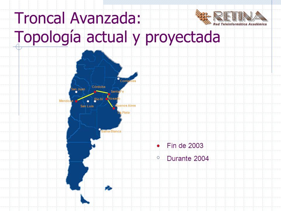 Troncal Avanzada: Topología actual y proyectada Buenos Aires Santa Fe Rosario Córdoba Mendoza Bahía Blanca San Luis Río IV San Juan La Plata Fin de 2003 Durante 2004 Corrientes