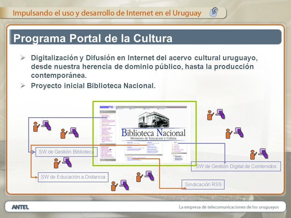 Programa Portal de la Cultura Digitalización y Difusión en Internet del acervo cultural uruguayo, desde nuestra herencia de dominio público, hasta la producción contemporánea.