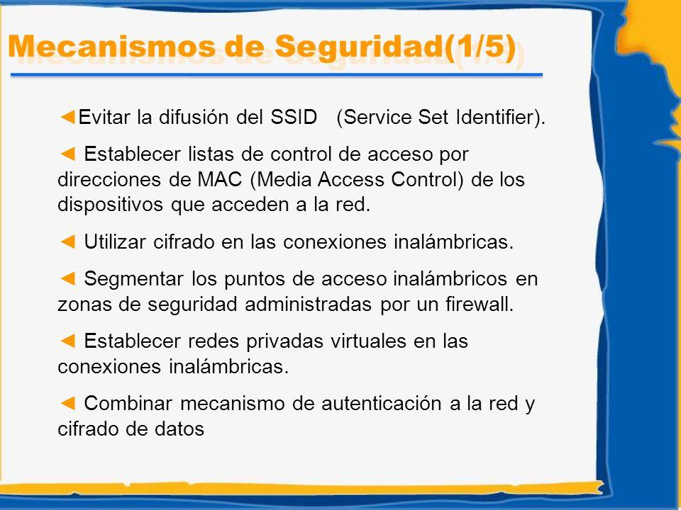 Mecanismos de Seguridad(1/5) Evitar la difusión del SSID (Service Set Identifier). Establecer listas de control de acceso por direcciones de MAC (Medi