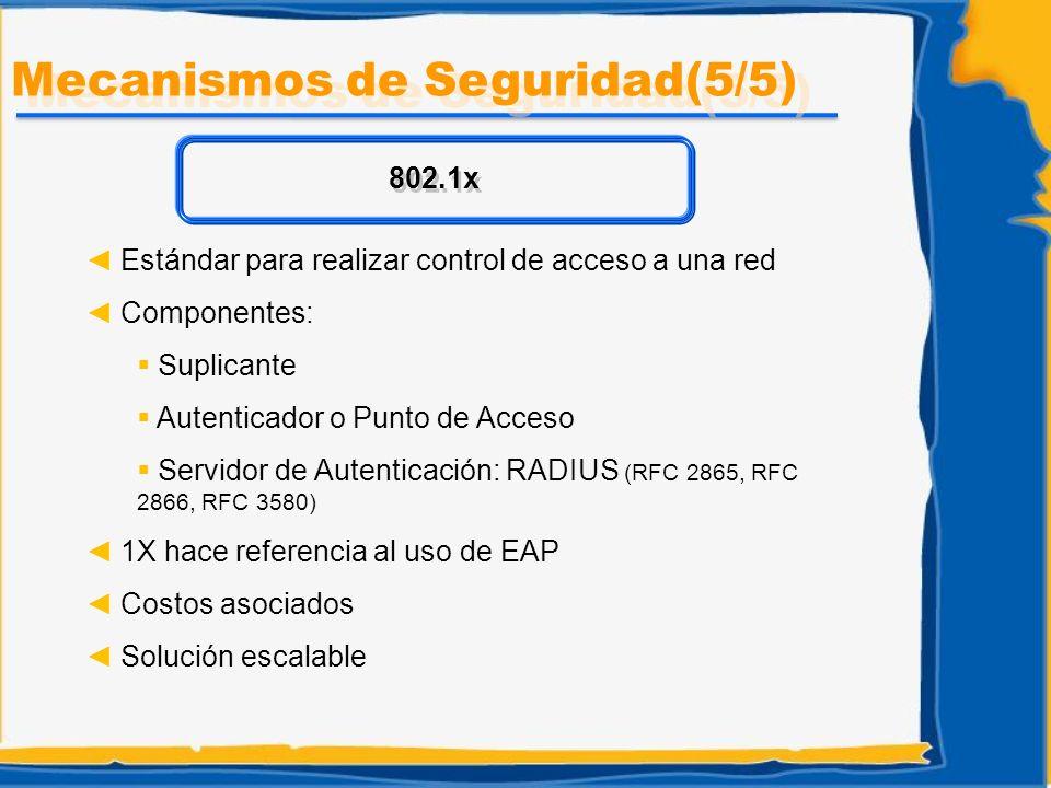 Estándar para realizar control de acceso a una red Componentes: Suplicante Autenticador o Punto de Acceso Servidor de Autenticación: RADIUS (RFC 2865,