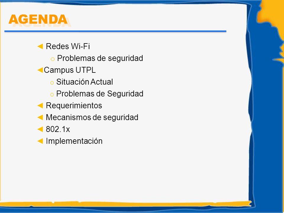Redes Wi-Fi o Problemas de seguridad Campus UTPL O Situación Actual O Problemas de Seguridad Requerimientos Mecanismos de seguridad 802.1x Implementac