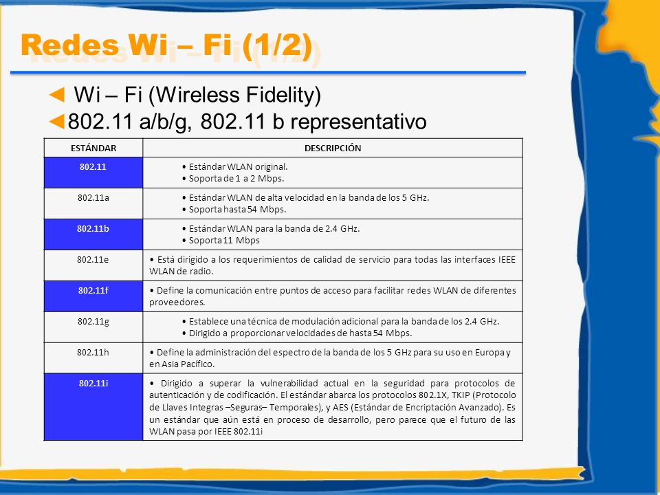 Wi – Fi (Wireless Fidelity) 802.11 a/b/g, 802.11 b representativo Redes Wi – Fi (1/2) ESTÁNDARDESCRIPCIÓN 802.11 Estándar WLAN original. Soporta de 1