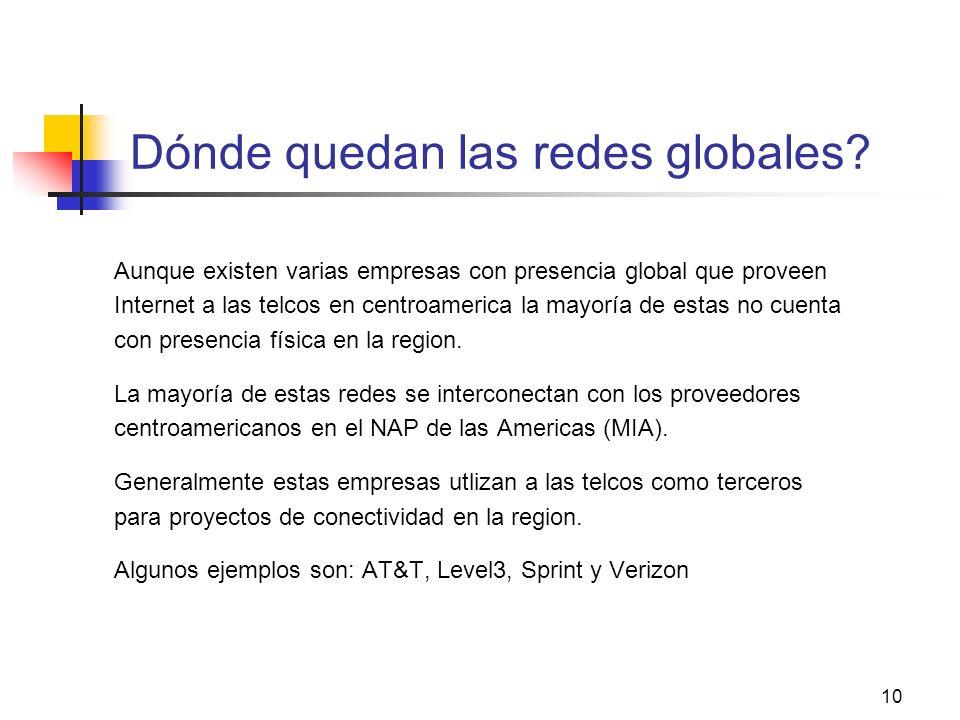 10 Dónde quedan las redes globales? Aunque existen varias empresas con presencia global que proveen Internet a las telcos en centroamerica la mayoría